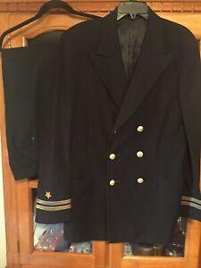 US Navy Officer Uniform Service Dress Blue Jacket & Pants Size 40 Long Vintage