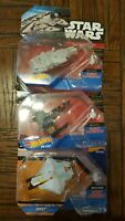 Star Wars Hotwheels Die-Cast Lot of 3, Ghost, Millennium & X-Wing, unopened