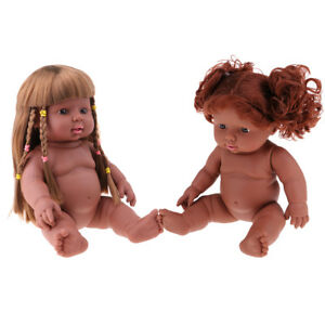 """2PC Full Vinyl Reborn 12"""" African American Baby Doll Toy - Photograph Props"""