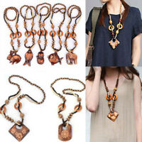 Vintage Fashion Ethnic Hand Bead Wood Long Jewelry Bohemia Made Pendant Necklace