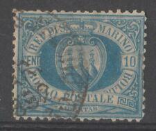 SAN MARINO 1877 VEDUTA ct.10 oltremare SASSONE Nr. 3 USATO