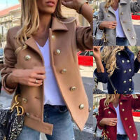 Women Fashion Woolen Lapel Neck Button Coat Jacket Overcoat Parka Cardigan  yi