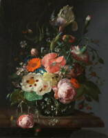 Rachel Ruysch Still Life with Flowers on a Marble Tabletop Giclee Canvas Print