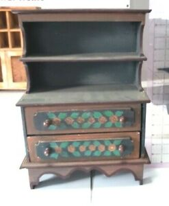 Antique Vintage Wooden Toy CHILD'S/DOLL Dish Cabinet Cupboard