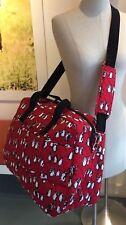Vera Bradley Grand Traveler Bag Large Tote Trolley Sleeve Penguins Red