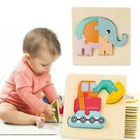 Wooden Jigsaw Animal geometric Puzzle kids Toys Children Educational R1X3