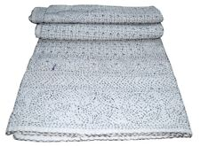 King Size Vintage Tribal Kantha White Quilt Cotton Bed Cover Throw Gudari