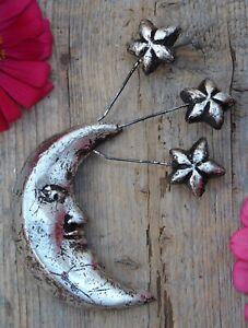 Sm Moon & Stars Silver Metallic Clay Handmade by Rafael Pineda Mexican Folk Art