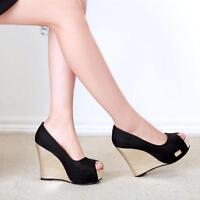 Womens Open Toe Fashion Party Shoes Pumps High Heel Wedge Platform Sandals