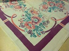 Vtg Cotton Print Tablecloth Table Cloth White Purple Pink Turquoise Flowers
