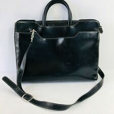 FRANKLIN COVEY Black Leather Briefcase Laptop Bag Carry On Luggage Career Work