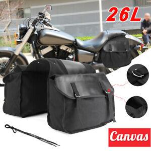 Universal Motorcycle Canvas Saddlebag Luggage Box Side Tools Bag Expandable Pack