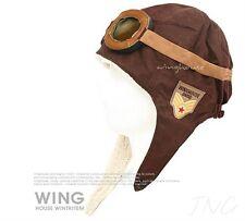 AEROPLANE FIGHTER PILOT CAP HAT w/ EARFLAP FOR BOY GIRL KIDS PLANE SCHOOL BROWN