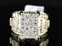 3 Ct 14K Ladies Womens Yellow Gold Princess Cut Diamond Engagement Wedding Ring