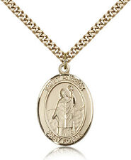 """Saint Patrick Medal For Men - Gold Filled Necklace On 24"""" Chain - 30 Day Mone..."""