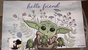 """DISNEY STAR WARS BABY YODA """"hello Friend"""" 18 x 30 Inch Decorative Door Floor Mat"""