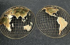 C JERE The Hemisphere Wall Metal Art Sculpture World Globe MCM Brutalist VTG