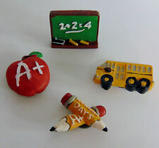 NEW (4) SCHOOL Teacher Student MAGNETS Refrigerator Bus Pencil Chalk Board Apple