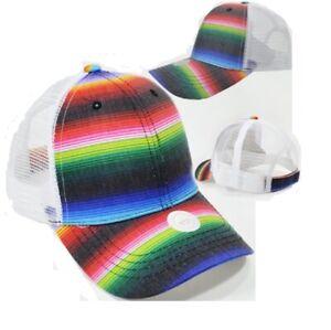Serape Mesh Baseball Cap Womens Aztec Trucker Hat