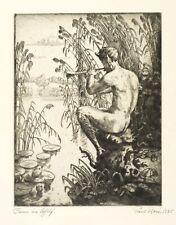 PAUL REIN - FAUN IM SCHILF - Radierung 1925