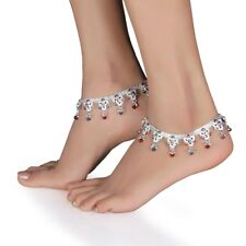 Silver Indian Bell Charm Ankle Bracelet Anklet foot Chain Ghungroo Payal Pajeeb