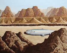 """Dallas John """"Pescado Perdido"""" Signed Numbered Serigraph Art Print fish desert 78"""