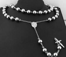 Large Heavy Stainless steel 8mm Ball Jesus Cross Rosary Necklace Chain 30''+5''