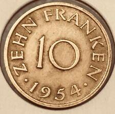 Germany SAARLAND 1954, 10 ZEHN FRANKEN Coin