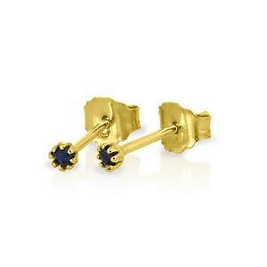 9ct Gold & Genuine Gemstone 2mm Round Stud Earrings Sapphire Ruby Emerald Garnet