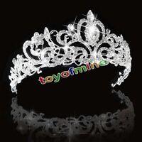 Bridal Princess Austrian Stunning Crystal Hair Tiara Wedding Crown Veil Headband