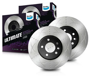 Front Bendix Ultimate Slotted Brake Disc Rotors (Pair) BR2632 suits Jeep Grand C