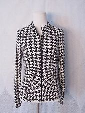 Joseph Ribkoff Knit Jacket Black White Houndstooth Full Zip Cute Ruched Size 12