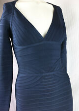 S Auth Herve Leger Long Sleeve Bandge Dress Blue