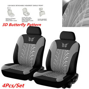 4x Car Front Row  Seat Cover Cushion Protector Black/Gray 3D Butterfly Pattern