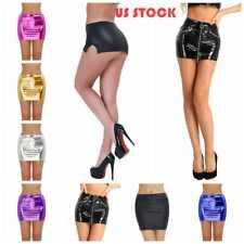 US# Women Sexy Lingerie Faux Leather Party Short Dress Micro Mini Skirt Clubwear