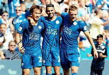 Shinji di Okazaki & Riyadh Mahrez Leicester City Firmato Autografo foto AFTAL COA