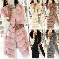 Women Faux Fur Waistcoat Gilet Vest Warm Winter Sleeveless Jacket Coat Outwear
