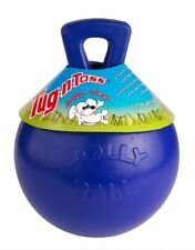 Jolly Pets Tug-N-Toss 6 inch Blue | Rubber Ball with Handle Chew Toy for Dogs