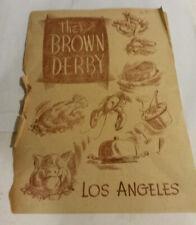 Brown Derby restaurant Los Angeles CA February 15 1947 paper menu star hangout