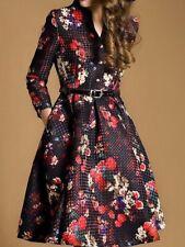 Multiflora Dress New Jacquard Swing Midi Black Red Floral Print Size XL