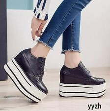 Fashion Womens Leather Platform Shoes Brogue Lace Up 10CM Casual Round Toe Shoes