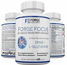 Forge Focus Advanced Brain Performance Supplement - Potent DMAE + L-Glutamine -