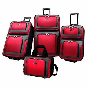 U.S. Traveler New Yorker Lightweight Expandable Rolling Luggage, Red, 4-Piece Se