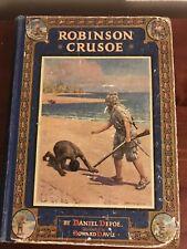 Beautiful Vintage Robinson Crusoe 1919 illustrated H.Davie Adventure Story Kids