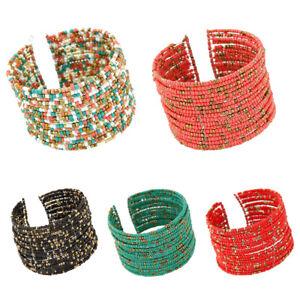 Women Lady Wide Boho Beads Multi Layer Row Open End Cuff Bracelet Bangle Party