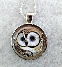 """OWL 1"""" glass pendant necklace handmade on silverplated 20"""" chain"""