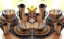 32 Piece Square Dinnerware Set Dishes Stoneware Plates Kitchen China Mugs Brown