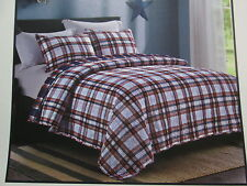 Ivy Hill Home Dylan Reversible Twin Quilt & Sham Set ~ Navy, Red,White Plaid New