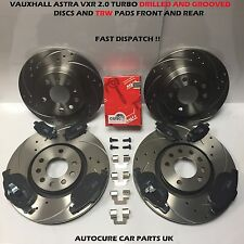 VAUXHALL ASTRA VXR 2.0 FRONT AND REAR DRILLED AND GROOVED DISCS AND TRW PADS
