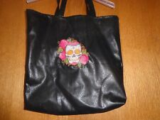 Upscale Tote Bag - Black Pleather - Lined - Bella Muerte;Calavera - Shopping Bag